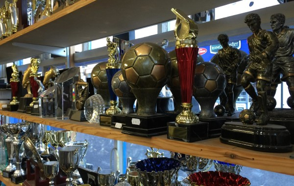 Trophies on display